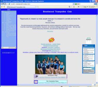 Old Brentwood Trampoline Club website