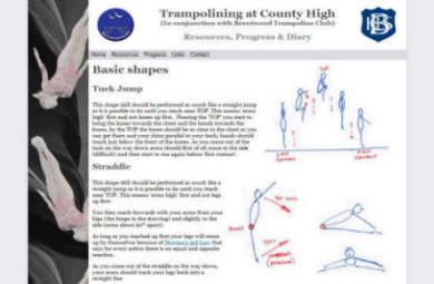 School Trampolining Website