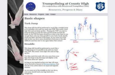 School Trampolining Website